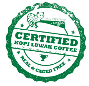 The emblem of the most-expensive.coffee real & caged free certification.